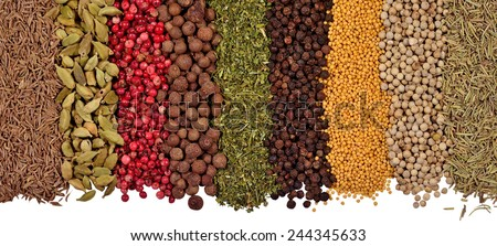 Heap of different dry spices on a white background - stock photo