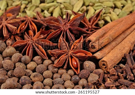 Heap of different dry spices (star anise, cinnamon sticks, allspice, cardamom and cloves) - stock photo
