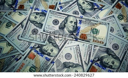 Heap of Dollar Bills. Abstract Money Background. Business and Financial Concept - stock photo