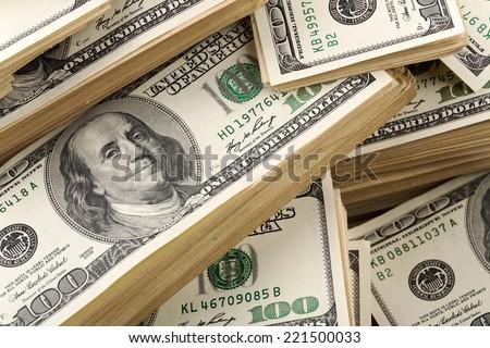 Heap of dollars - stock photo