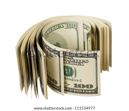 Heap of dollars isolated on a white background - stock photo