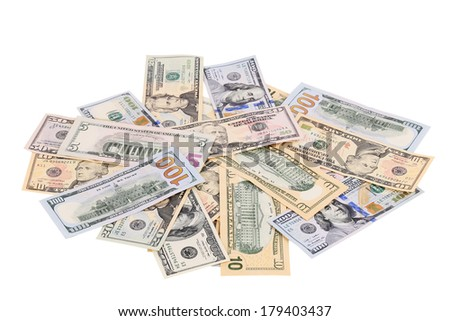 Heap of dollars. Isolated on a white background. - stock photo
