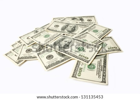 Heap of Dollars isolated on white background with place for your - stock photo