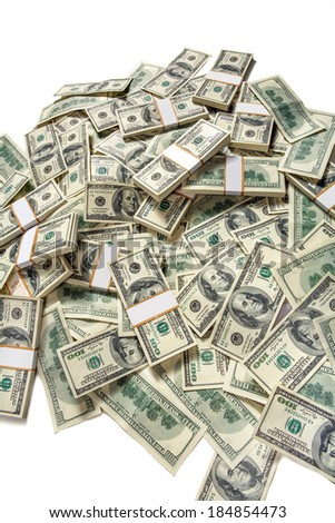 Heap of dollars / studio photography of American moneys of hundred dollar  - stock photo