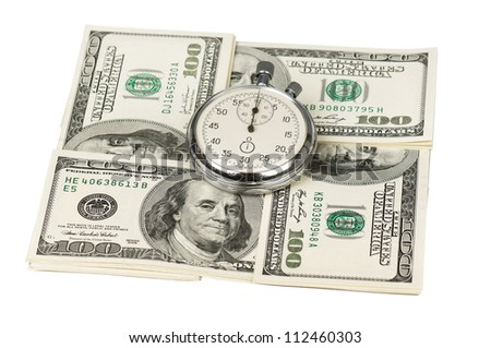 Heap of dollars with stopwatch isolated on a white background - stock photo