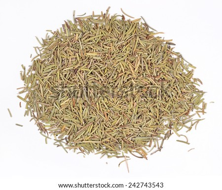 Heap of dried rosemary on a white background - stock photo