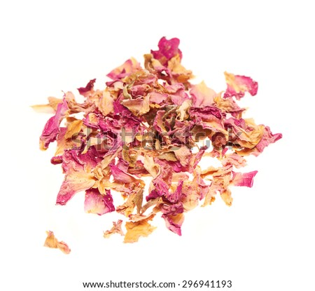 Heap of dry rose leaves isolated on white background - stock photo