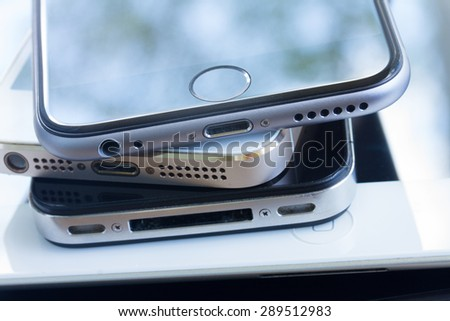 heap of electronical devices close up - technology concept - stock photo