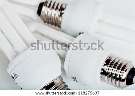 Heap of energy efficient light bulbs - stock photo