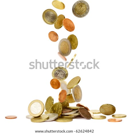 Heap of euro coins falling to the ground - stock photo