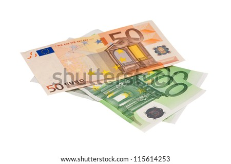 Heap of euro isolated on a white background - stock photo
