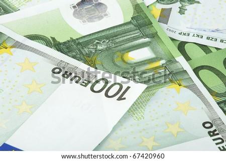 heap of 100 euros banknotes - stock photo