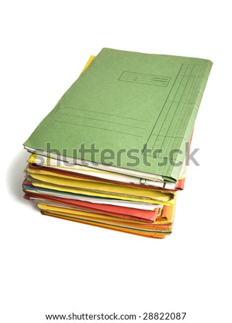 heap of file folders isolated on white - stock photo