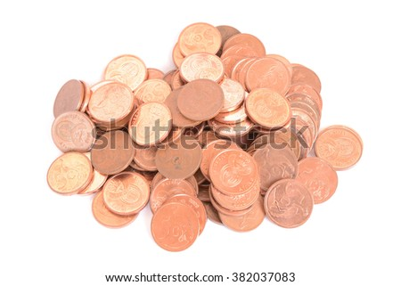 Heap of five cents copper coins of the South African currency Rand. Image isolated on white studio background. - stock photo