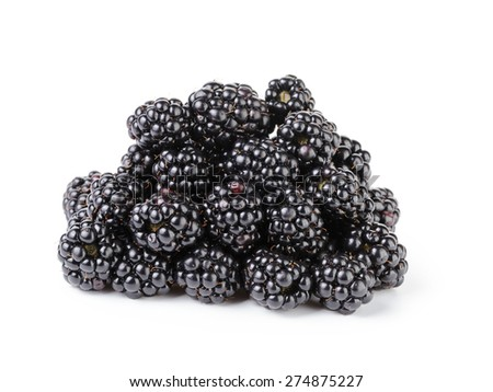 heap of fresh blackberry isolated on white - stock photo
