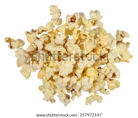 Heap of fresh popcorn on a white background  - stock photo