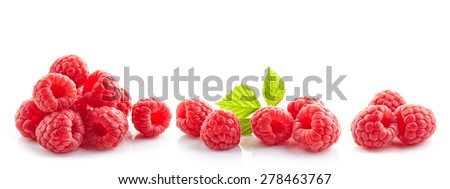 heap of fresh raspberries isolated on white - stock photo