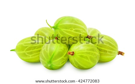 Heap of fresh ripe gooseberry berries without leaves isolated on white background. Design element for product label, catalog print, web use. - stock photo