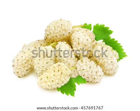 Heap of fresh ripe white mulberry berries with leaves isolated on white background. Design element for product label, catalog print, web use. - stock photo