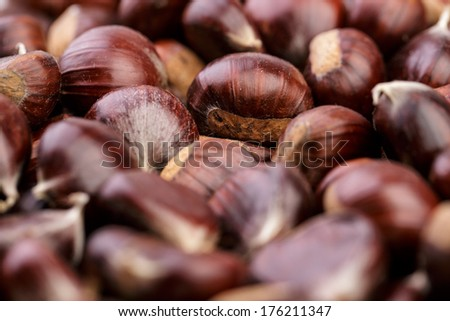 Heap of fresh Sweet Chestnuts from the Forest in Autumn - stock photo