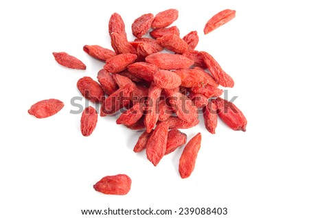 heap of goji berries  isolated on white background.top view - stock photo