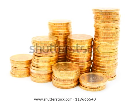 Heap of gold coins. On a white background. - stock photo