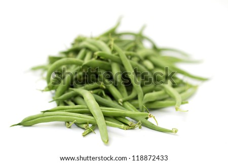 heap of green beans isolated on white background - stock photo