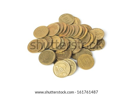 Heap of israeli coins isolated on white background - stock photo