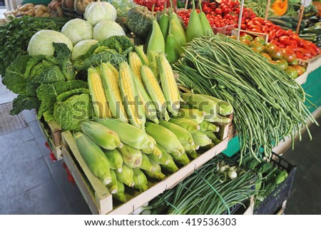 Heap of Maize Corn at Farmers Market - stock photo