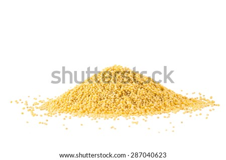 Heap of millet isolated on white background - stock photo