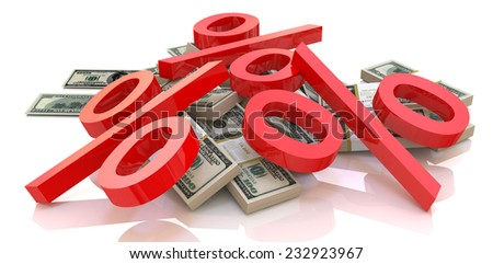 heap of money and percentages - stock photo