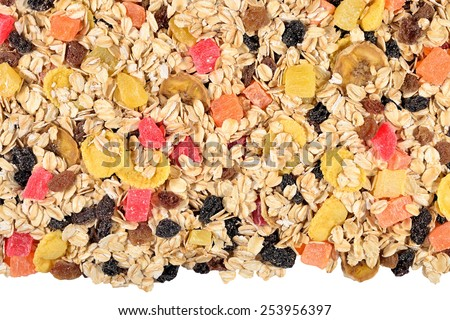 Heap of musli on a white background - stock photo