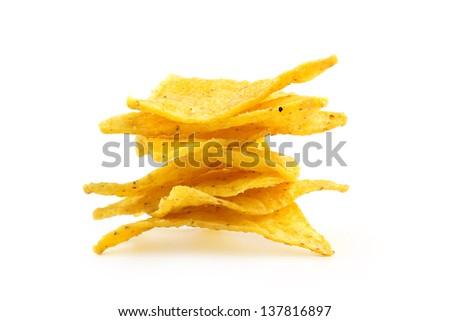 heap of nachos isolated on white background - stock photo
