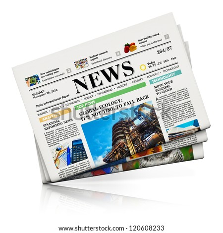 Heap of newspapers with business news isolated on white background with reflection effect - stock photo