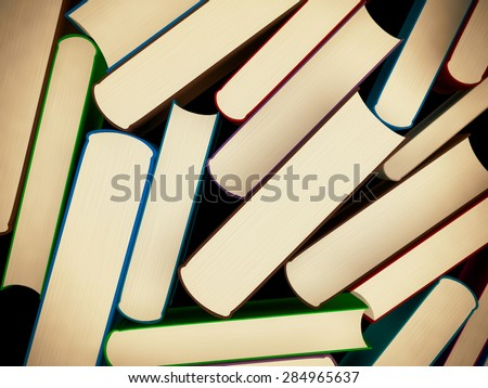 Heap of old books in a hard cover with toning, 3d illustration - stock photo