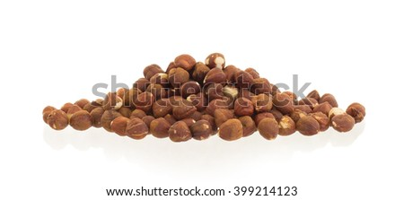 Heap of old hazelnuts, ready for consumption - stock photo