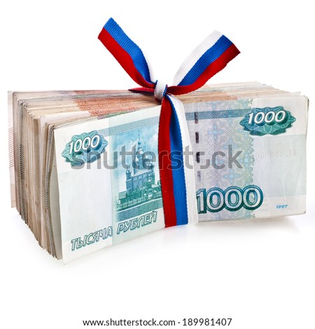 Heap of One Million Banknotes Rubles of the Russian Federation wrapping Ribbon flag tape - isolated on white background - stock photo