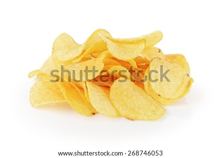 heap of organic potato chips isolated on white - stock photo