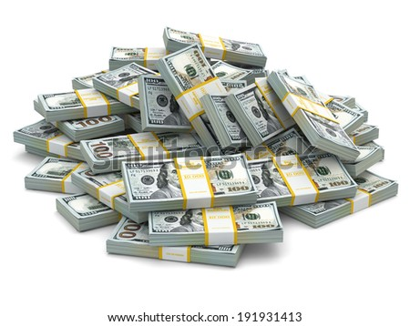 Heap of packs of dollars. Lots of cash money.3d - stock photo