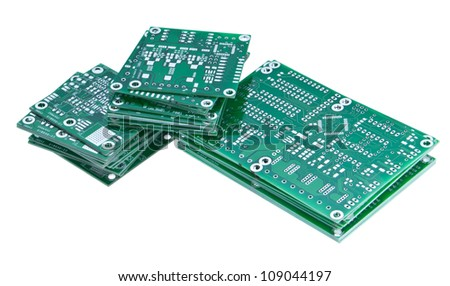 Heap of PCBs isolated on white - stock photo