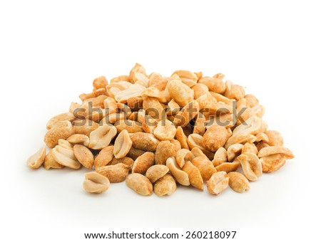 heap of peanuts isolated on white background - stock photo