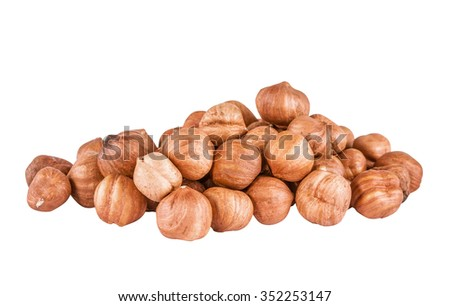 Heap of peeled filbert isolated on white background - stock photo