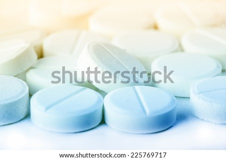 heap of pills. medical background  - stock photo