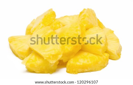 Heap of pineapple chunks isolated on white - stock photo