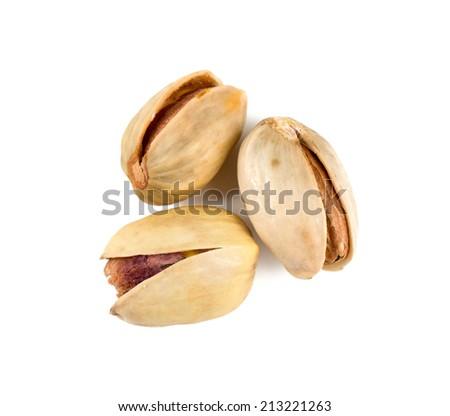 heap of pistachio isolated on white - stock photo