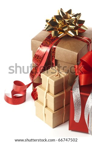 heap of present boxes - stock photo