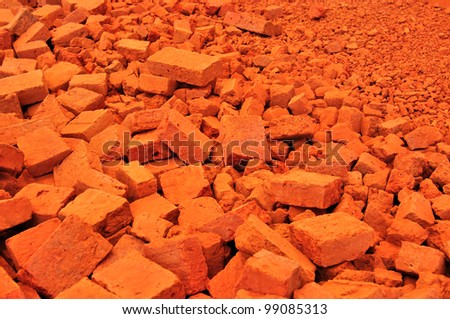 heap of red brick - stock photo