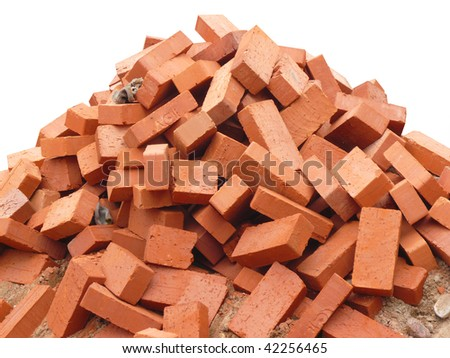 heap of red brick at day  isolated - stock photo