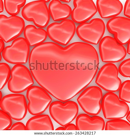 Heap of red hearts with one big red heart. Happy Valentine's Day or Love concept - stock photo