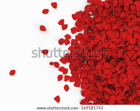 Heap of Red Rose Petals isolated on white background with place for Your text - stock photo
